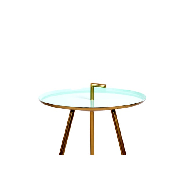 1950s Mid-Century Modern Round Three-Legged Brass & Turquoise Enamel Side Table 1950s For Sale - Image 5 of 13