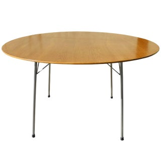 Danish Modern Oak Top Round Table by Arne Jacobsen For Sale