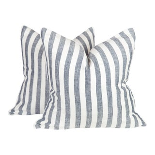 Navy & Ivory Linen Stripe Harlow Pillows - A Pair
