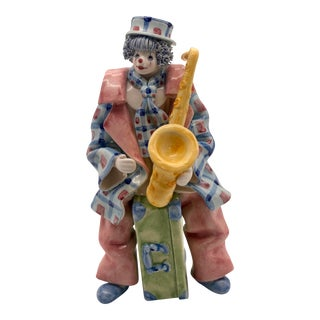 Vintage Italian Gruppo Del Quattro for Gumps Ceramic Clown Musician Figurine For Sale