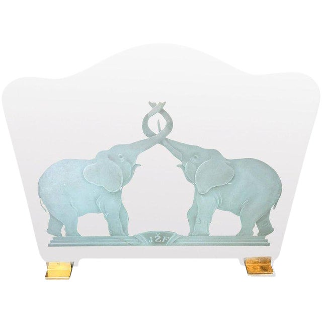 """Brass and Etched Elephant """"Lovers"""" Glass Fireplace Screen For Sale"""