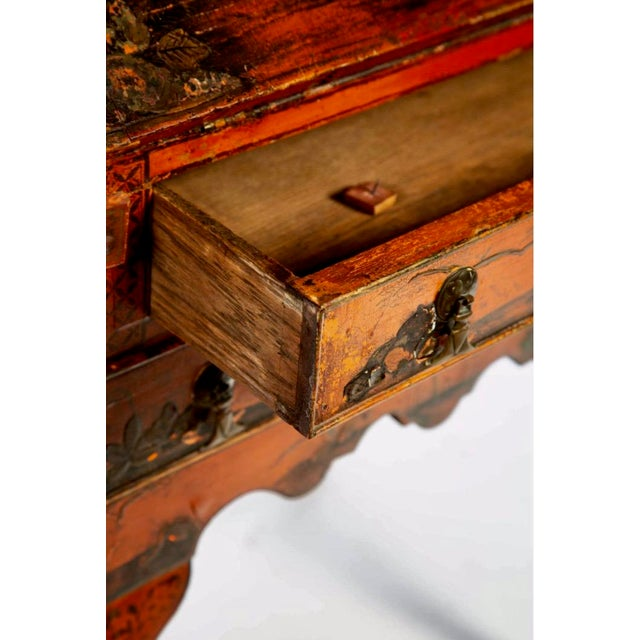 Late 18th Century Queen Anne Style Chinoiserie Secretary Desk For Sale - Image 4 of 6