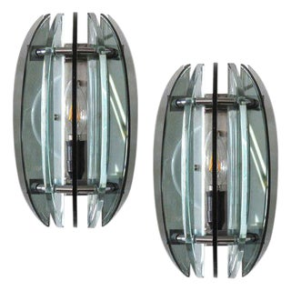 Pair of Italian Glass Wall Lights by Veca For Sale