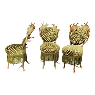 1880s Antler Parlor Chairs - Set of 3 For Sale