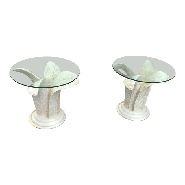 Vintage Glass Top Tables With Floral Style Bases - a Pair For Sale