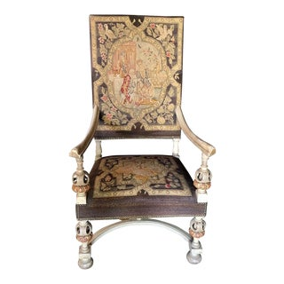Baroque Style Needlepoint Painted Chair For Sale