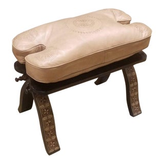 Moroccan Camel Saddles Leather Cushion Wooden Base Stool For Sale