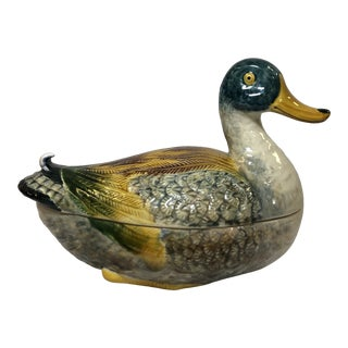 Early 20th Century Majolica Duck Tureen For Sale
