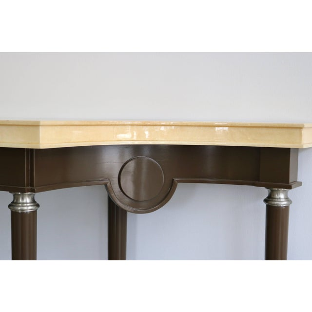 Metal Art Deco Revival Goatskin Lacquered Console & Mirror by Lucien Rollin for William Switzer For Sale - Image 7 of 11
