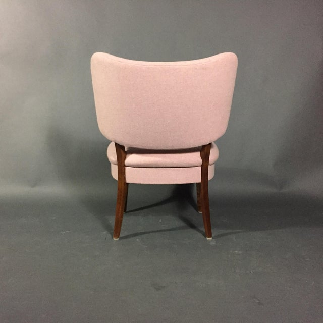"1940s 1940s Swedish ""Emma"" Chair in Pink Felted Wool For Sale - Image 5 of 9"