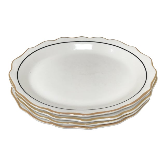 20th Century Traditional Syracuse Oval Ivory Serving Plates - Set of 4 For Sale