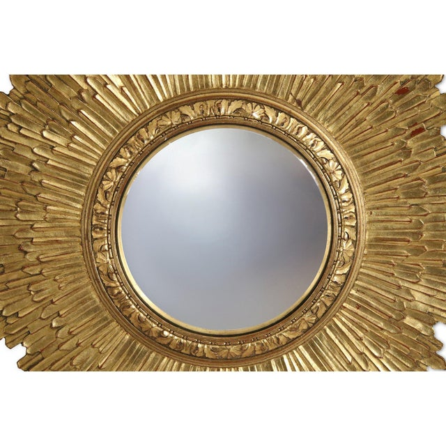 Mid-Century Giltwood Sunburst Frame Convex Wall Mirror For Sale - Image 4 of 5