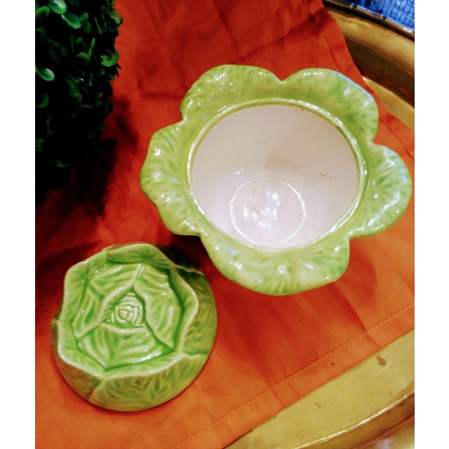 Sweet and small this green cabbage bowl will be a pretty little server for sugar or for anything else you wish. It is...