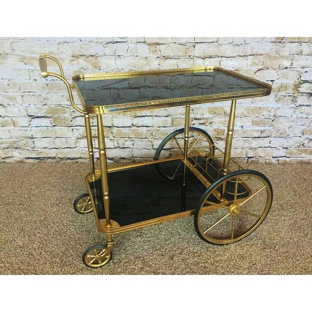 Hollywood Regency Maison Bagues Brass & Black Glass Tea Trolley For Sale In Minneapolis - Image 6 of 9
