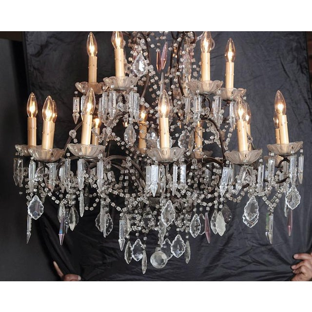 Italian 19th Century Italian 18-Light Crystal Chandelier For Sale - Image 3 of 10