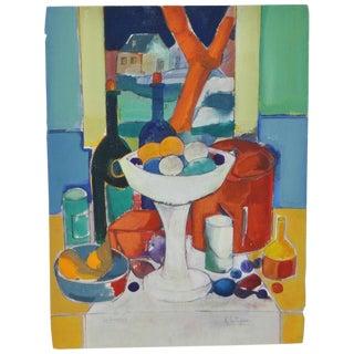 """Rene Couturier """"Le Compotier"""" Original Watercolor C.1970s For Sale"""