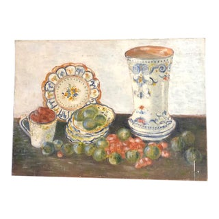Vintage Fruit and Faience Pottery Still Life Painting For Sale