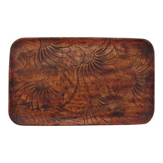 Vintage Tropical Carved Wood Tray For Sale