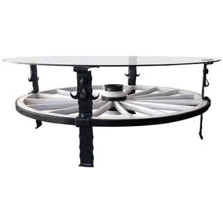 Glass Top Wooden Wagon White Wheel Accent Table For Sale