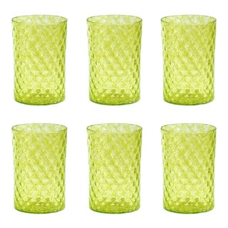 Lime Mandala Drinking Glass - Set of 6 For Sale