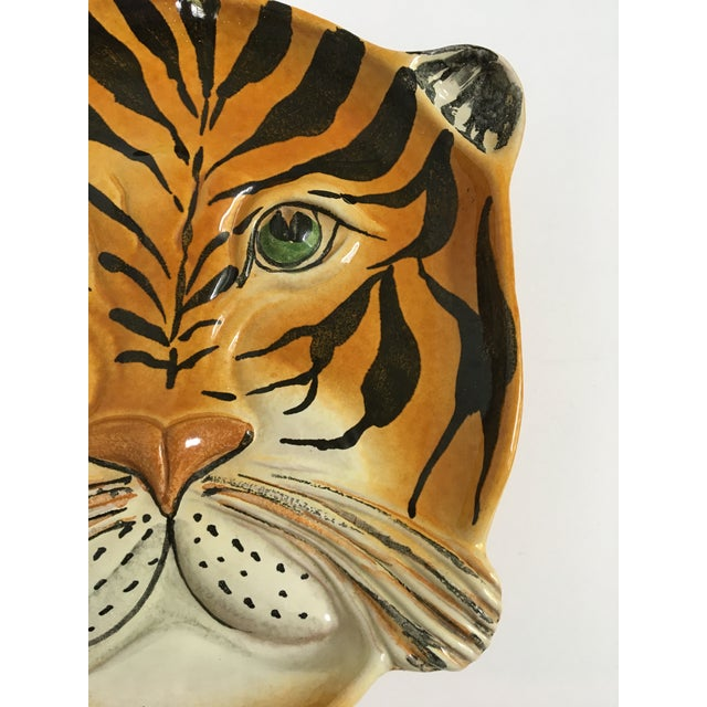 Mid Century Italian Hand Painted Striped Tiger Platter For Sale - Image 6 of 13