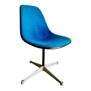 Herman Miller Blue Wool Upholstery & Fiberglass Shell Chair For Sale