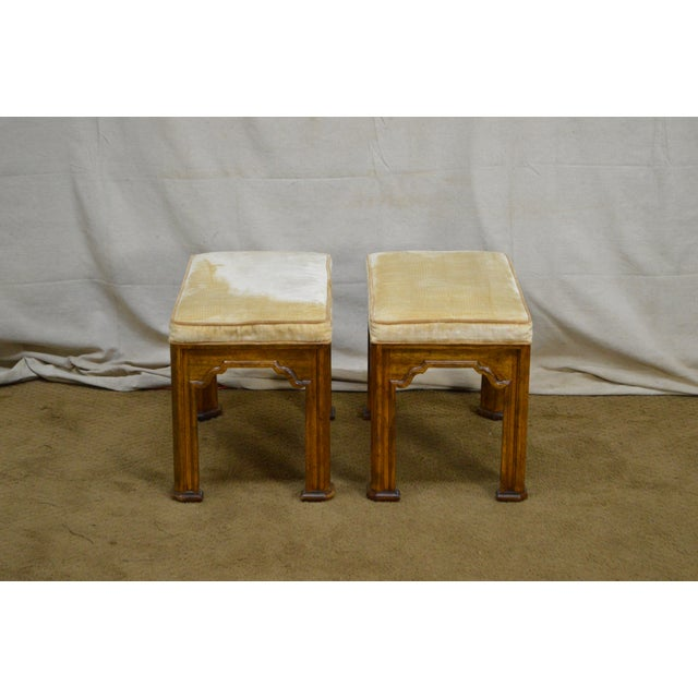 Textile Drexel Heritage Pair of Vintage Walnut Stools or Benches For Sale - Image 7 of 13