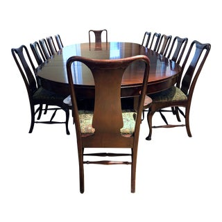 19th Century Rare Mahogany Queen Anne Dining Set - 13 Pieces For Sale