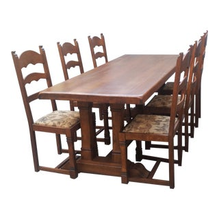 Plank Monastery Oak Refectory Dining Table and Chairs-Set of 7 For Sale