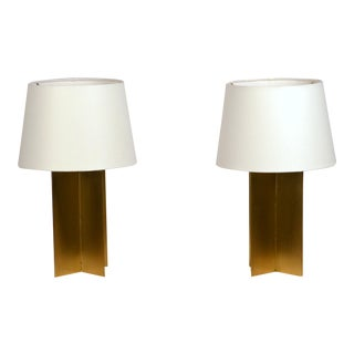 Polished Brass and Parchment Paper Table Lamps - a Pair For Sale