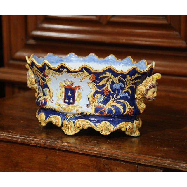 Crafted in Italy circa 1850, this colorful cachepot would make a beautiful centerpiece in your home. The elegant, colorful...