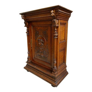 19th Century French Carved Tiger Oak Jam Cabinet For Sale
