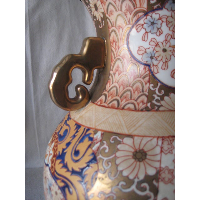 Metal Mid 20th Century Imari Style Lamps on Wood Base - a Pair For Sale - Image 7 of 9