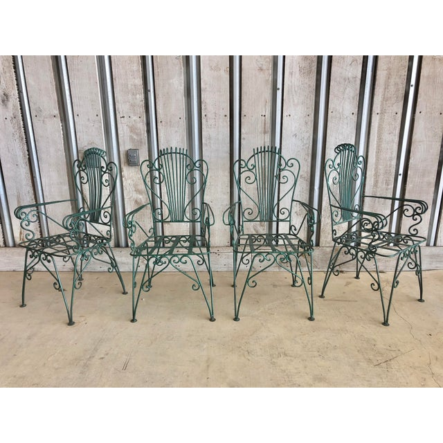 "Midcentury French decorative garden chairs. Seat h 17"", arm h 25.5"""