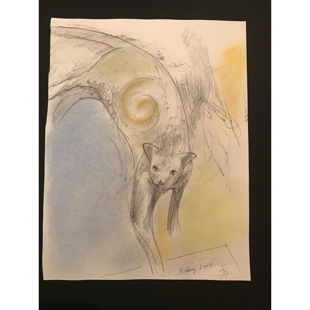"""Boho Chic Chicago 2008 """"Cat"""" Pastel Drawing by James Bone For Sale - Image 3 of 3"""