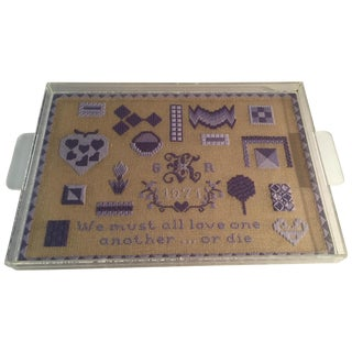 Folk Art Acrylic Tray With Needlepoint Insert, 1971 For Sale