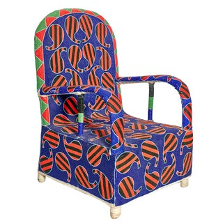 Late 20th Century Yoruba Beaded Chair For Sale