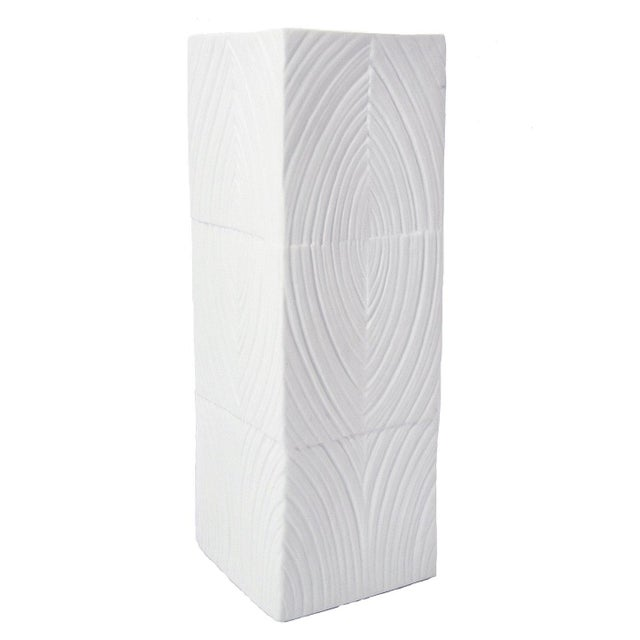 Bisque porcelain vase with glazed interior featuring a Modernist unique bas relief texture designed by Martin Freyer for...