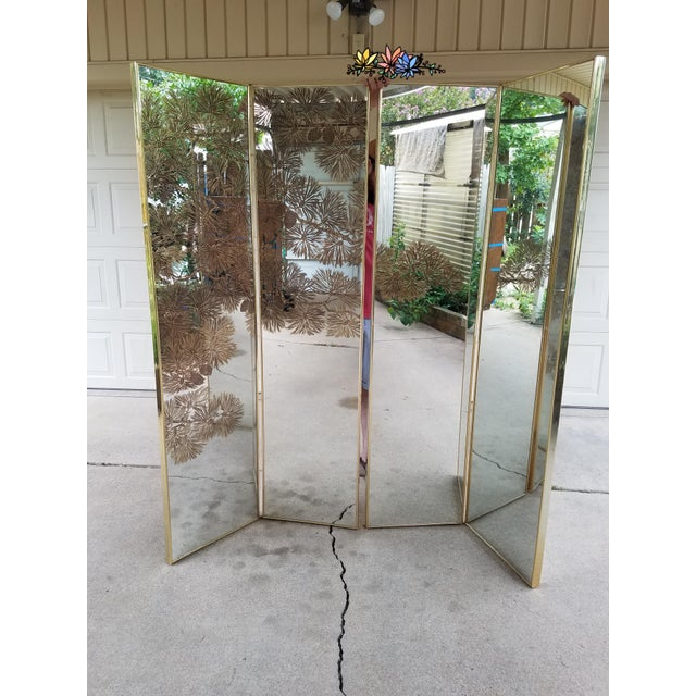 Vintage Gold Etched Mirror Room Divider For Sale In Dallas - Image 6 of 10
