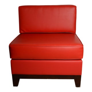 Retro Lounge Chair Red Faux Leather MCM Design For Sale