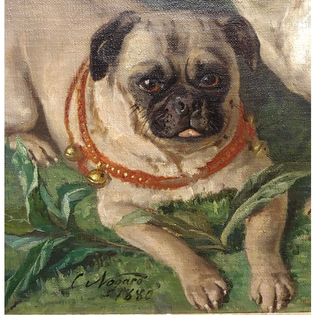 19th Century Charles Nogaro - Portrait of Two Pugs-19th Century French Oil Painting For Sale - Image 5 of 10