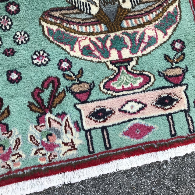 """Textile 1980s Persian Pictorial Yalameh Rug - 1'6"""" X 2'7"""" For Sale - Image 7 of 13"""