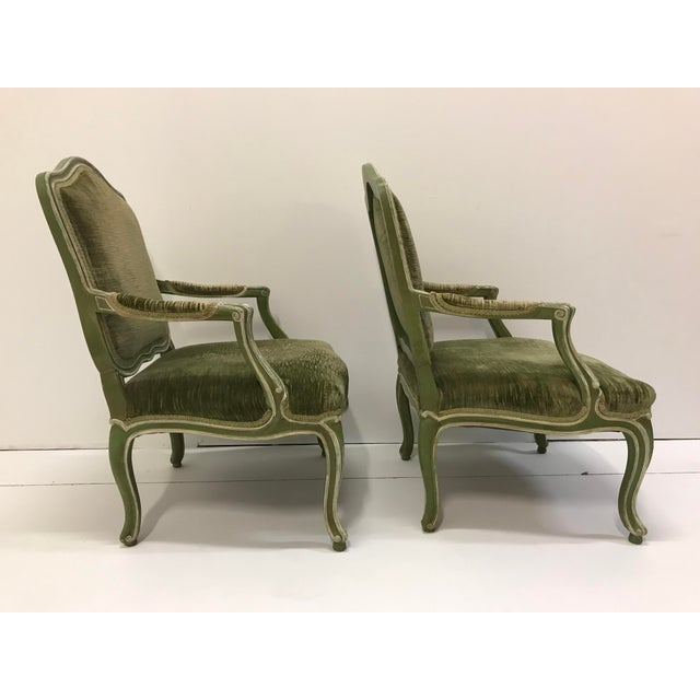 Vintage Louis XV Revival Green Velvet Bergere Chairs Cabriole Leg Scroll Foot Painted Mahogany Country French - a Pair For Sale - Image 4 of 8