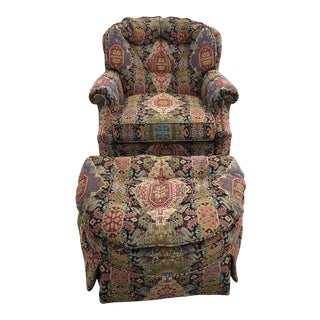 Late 20th Century Tapestry Club Chair and Ottoman For Sale