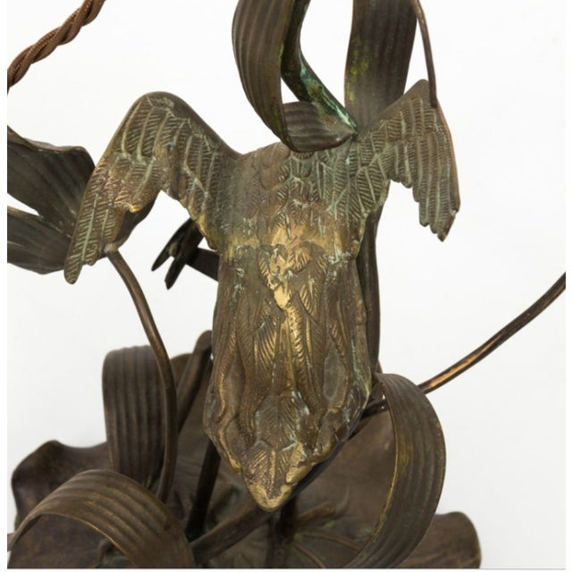1910s Brass Crane Lamp Circa 1910 With Shade For Sale - Image 5 of 8