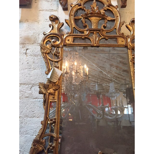 French Vintage French Gilt-Wood W/Fruit Basket Motif Mirror For Sale - Image 3 of 6