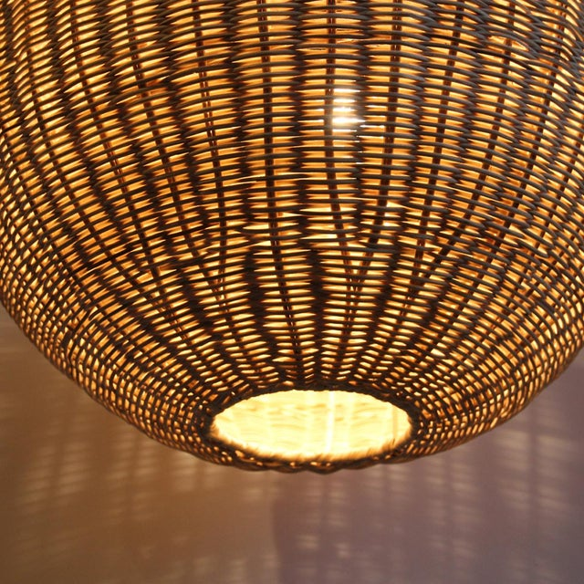Raw Rattan Globe Lantern Large For Sale - Image 4 of 5