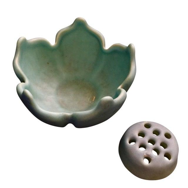 Van Briggle Lotus Blossom & Flower Frog Pottery - Image 1 of 4