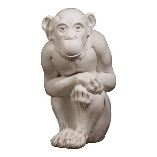 1960s Italian Handformed Terra Cotta White Glazed Monkey For Sale