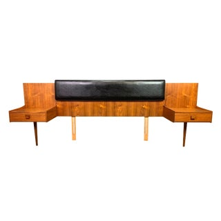 Vintage British Mid Century Modern Teak Nightstands and Headboard by Kofod Larsen for G Plan For Sale